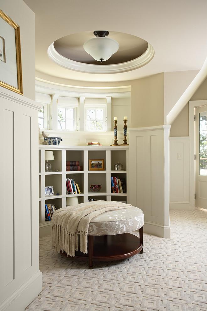 Elegant carpeted bedroom photo in Minneapolis with beige walls