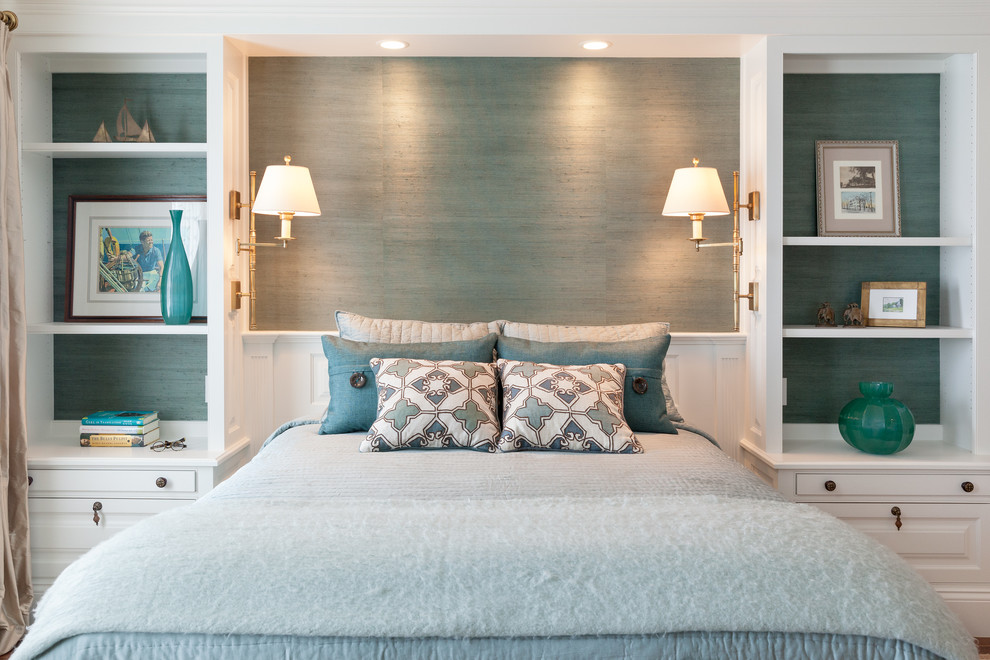 Elegant bedroom photo in Boston with blue walls