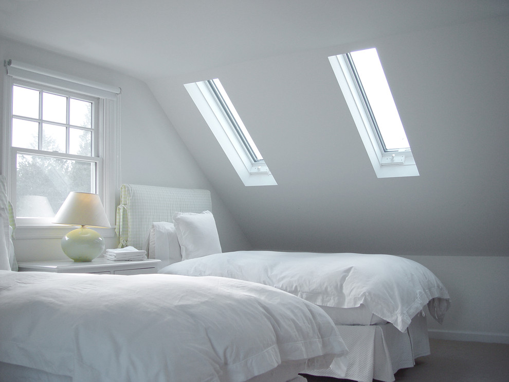 Bedroom - contemporary guest bedroom idea in Burlington with white walls and no fireplace