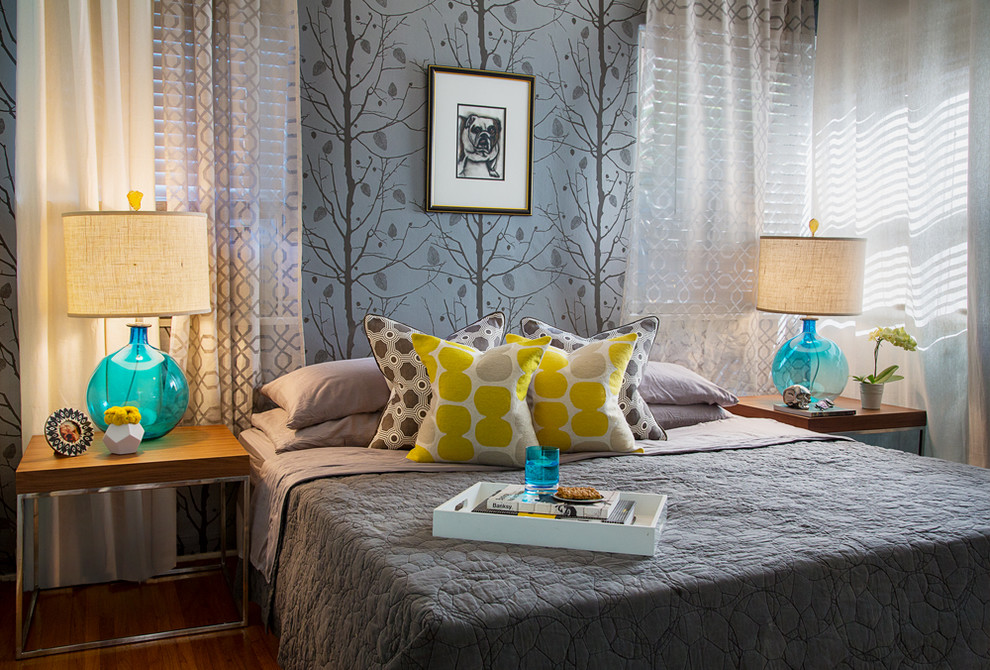 Trendy bedroom photo in Los Angeles with multicolored walls
