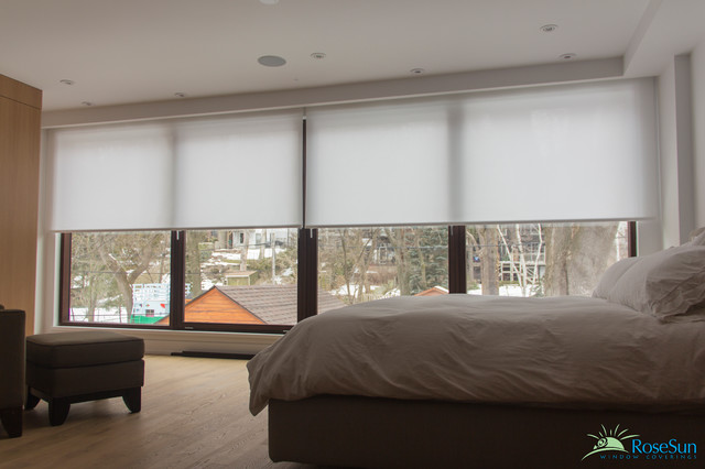 Bedroom window blinds remote operated modern bedroom toronto by rosesun motorized window Window coverings for bedrooms