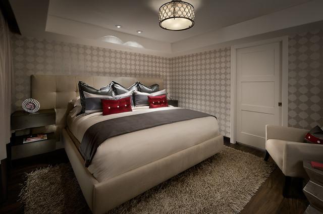 Bedroom With Luxury Vinyl Plank Flooring Contemporary