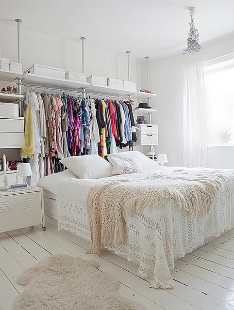bedroom with open storage