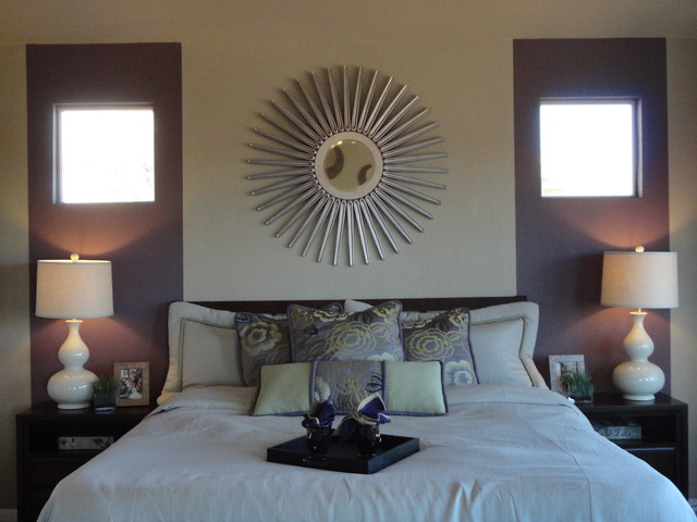 Bedroom With Purple Eggplant Stripe Modern Bedroom