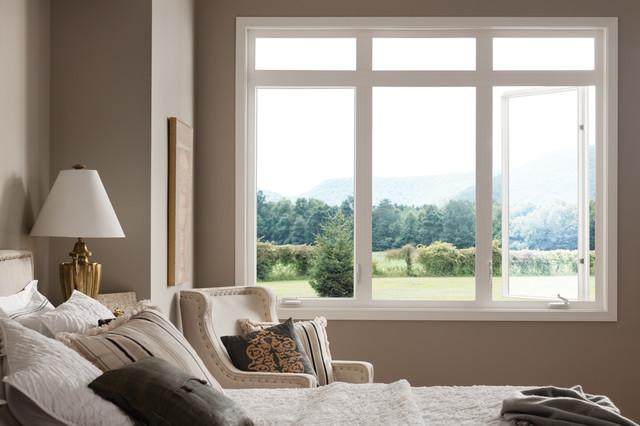 Bedroom with style line vinyl casement windows by milgard for Bedroom window styles