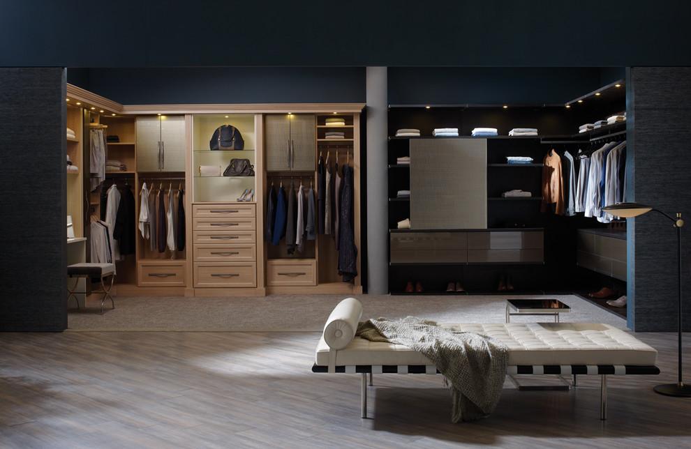 Example of a large trendy master light wood floor bedroom design in Hawaii