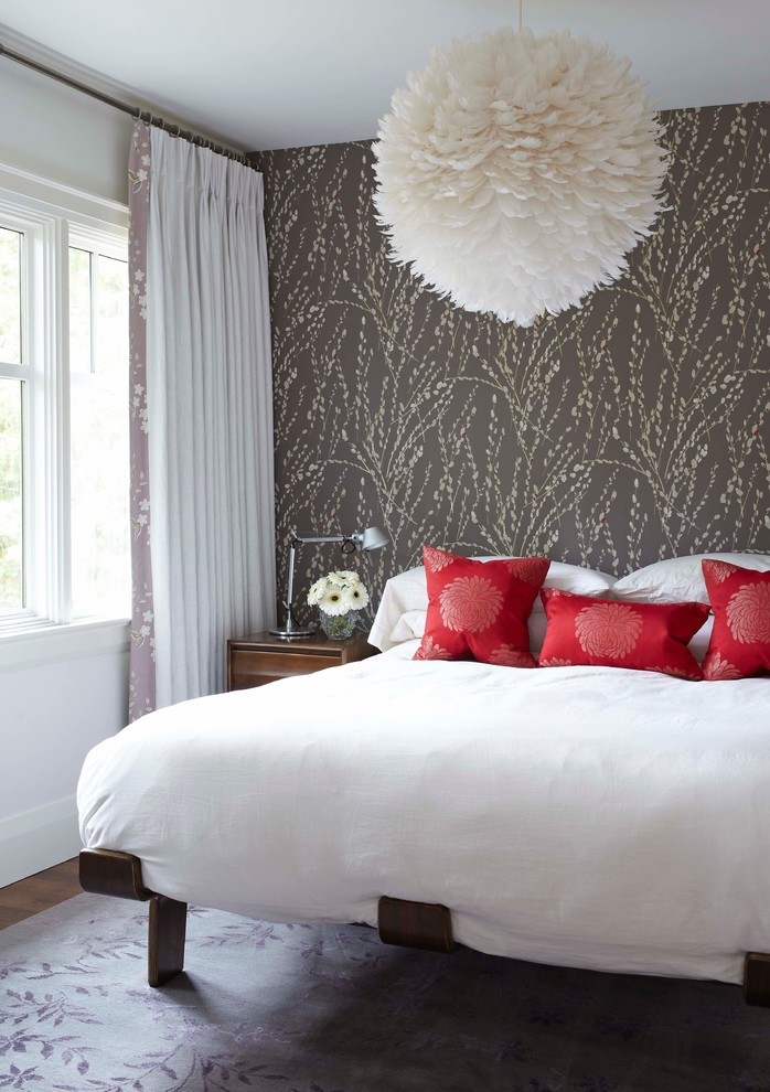 Example of a trendy bedroom design in Toronto with multicolored walls