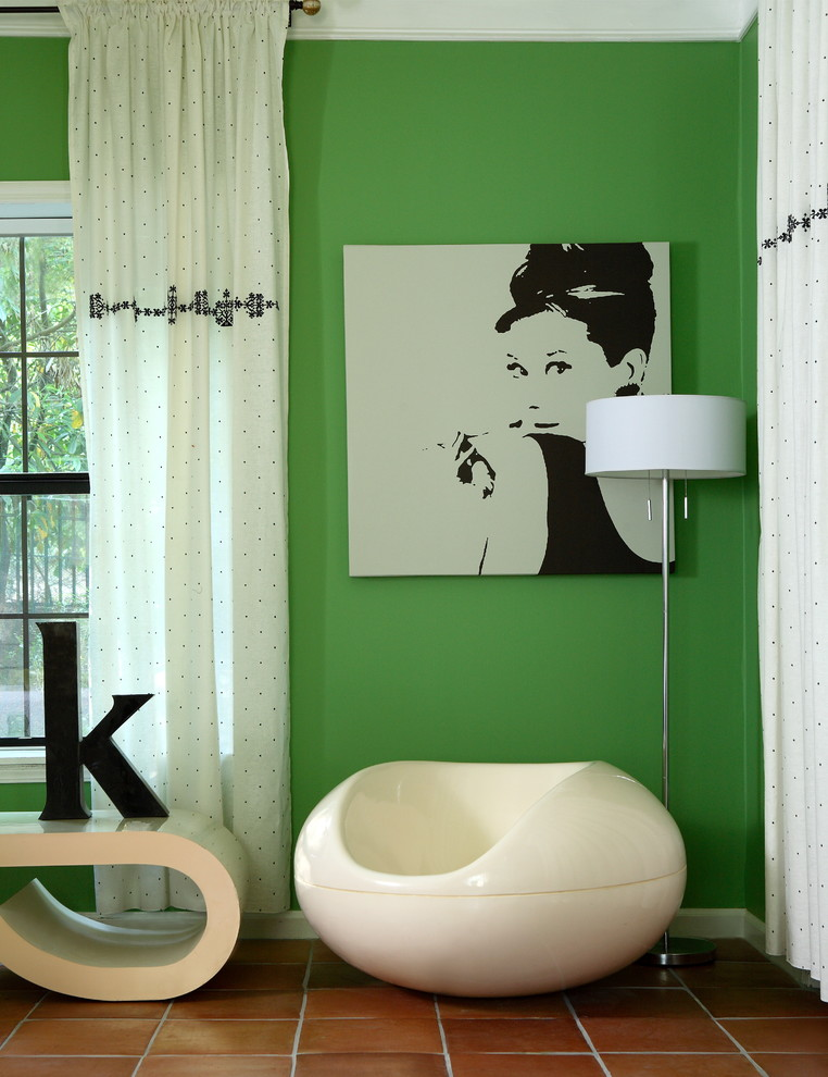 Inspiration for a large eclectic guest terra-cotta tile bedroom remodel in Atlanta with green walls and no fireplace