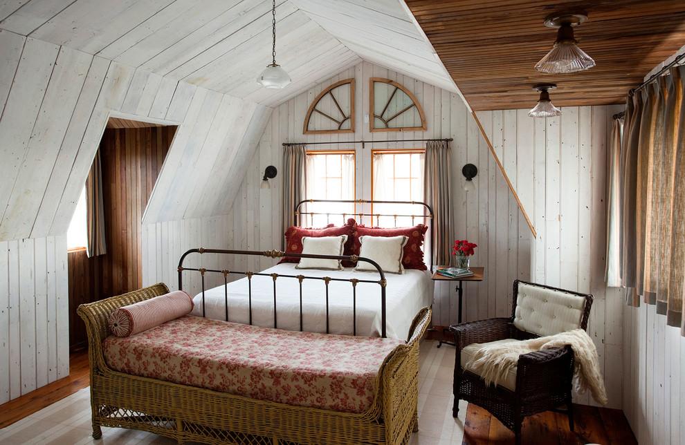 Cottage dark wood floor bedroom photo in Boston with white walls