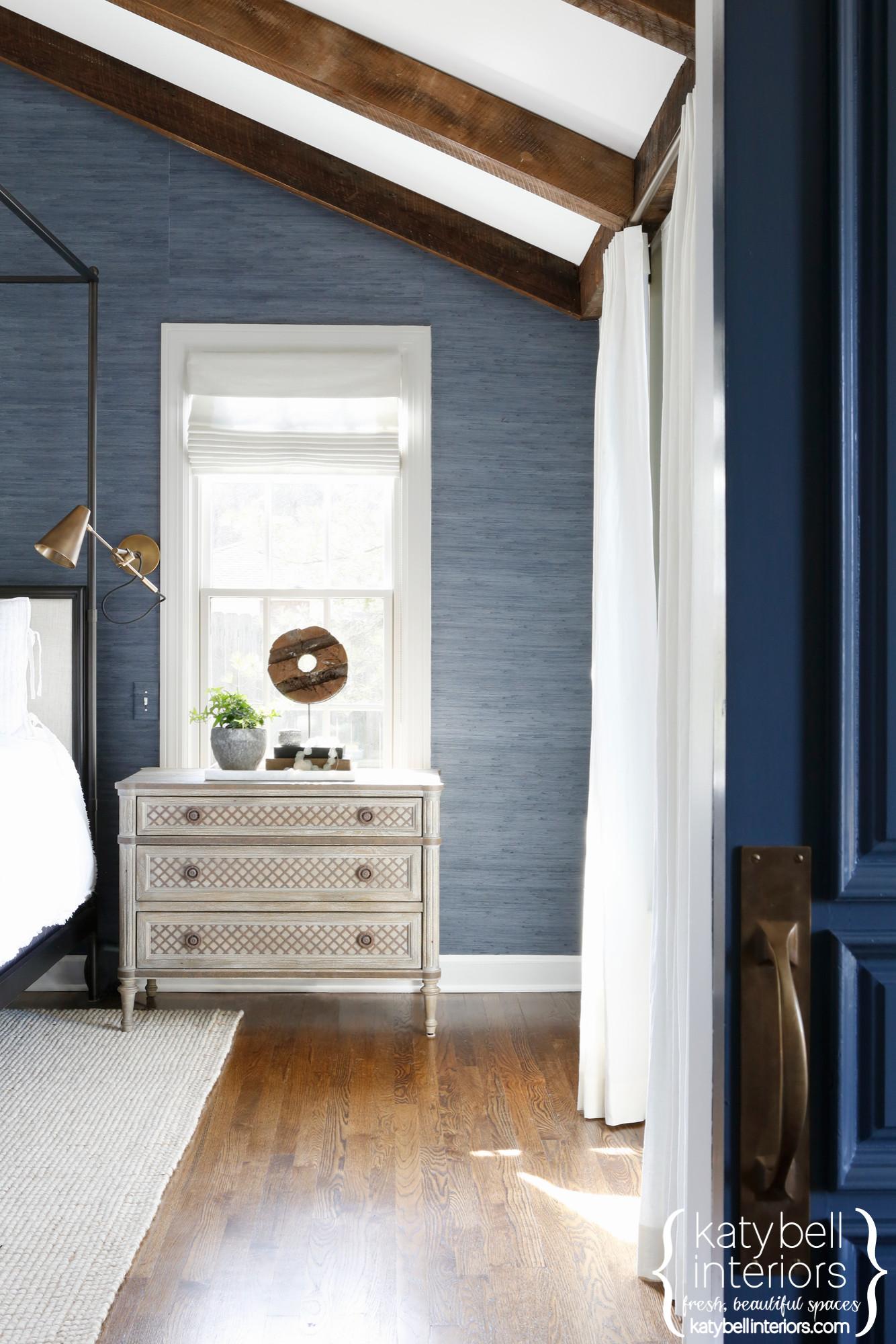 Deep Blue Grasscloth Master Bedroom Remodel