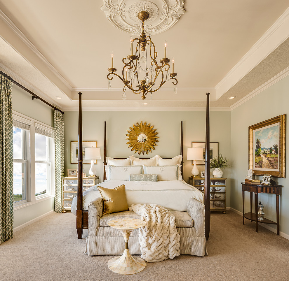Inspiration for a large timeless master carpeted bedroom remodel in Kansas City with green walls and no fireplace