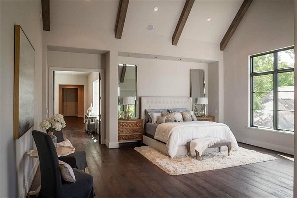 Inspiration for a large shabby-chic style master dark wood floor and brown floor bedroom remodel in Houston with white walls and no fireplace