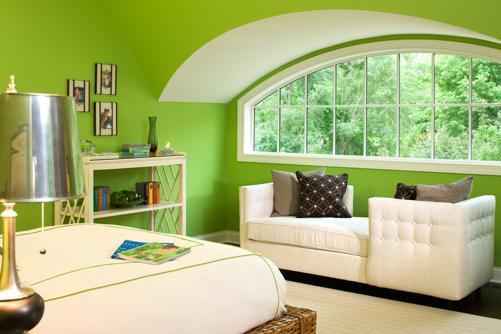 Example of a classic bedroom design in Minneapolis with green walls
