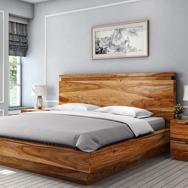 Delaware Solid Wood Platform Bed Frame: Delaware Solid Wood Platform Bed Frame 3pc Suite