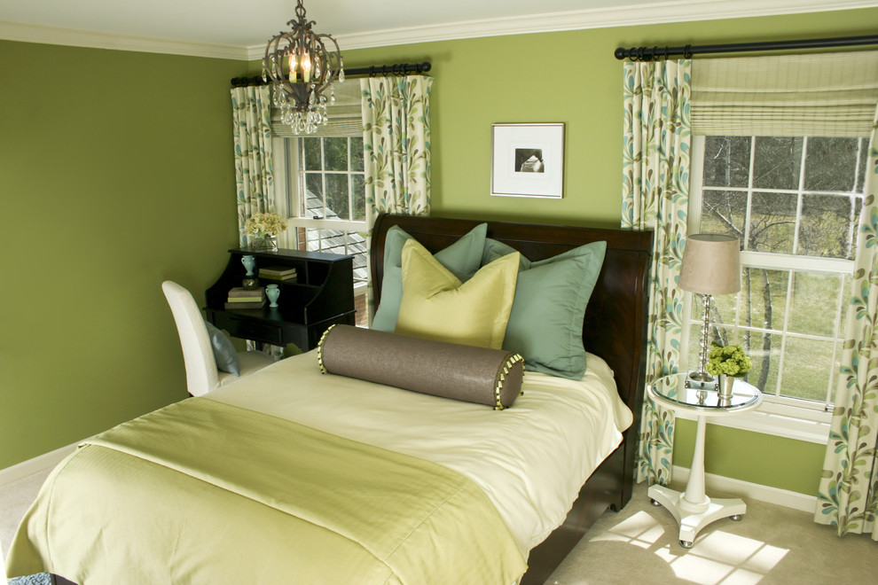 Trendy bedroom photo in Other with green walls