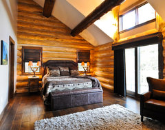 Beetle Pine Log Cabin in the Woods of Colorado traditional bedroom