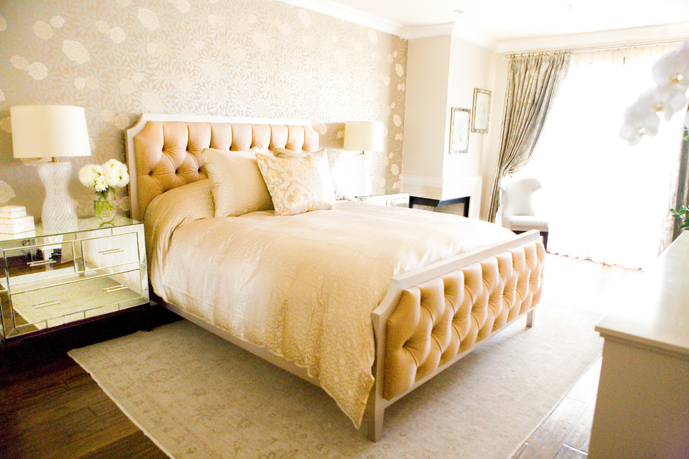 Example of a transitional bedroom design in Los Angeles