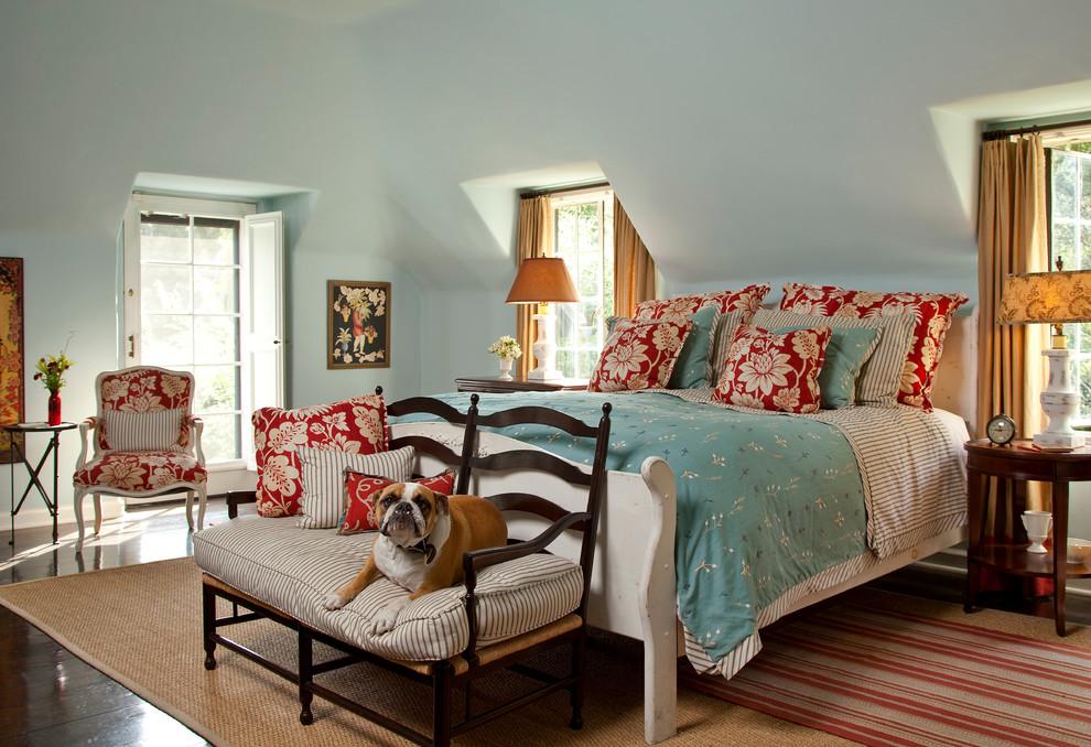 Elegant dark wood floor bedroom photo in Los Angeles with blue walls
