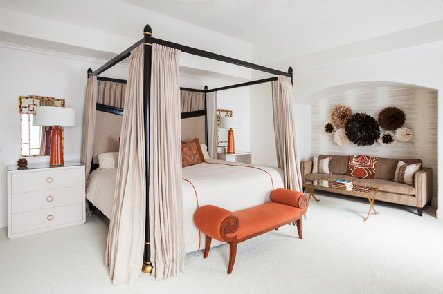 Example of a trendy bedroom design in Houston with white walls