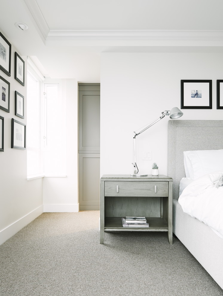 Bedroom - mid-sized transitional master carpeted bedroom idea in Vancouver with gray walls