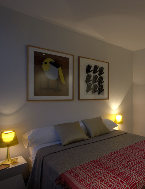 Photo of a contemporary bedroom in Sydney.
