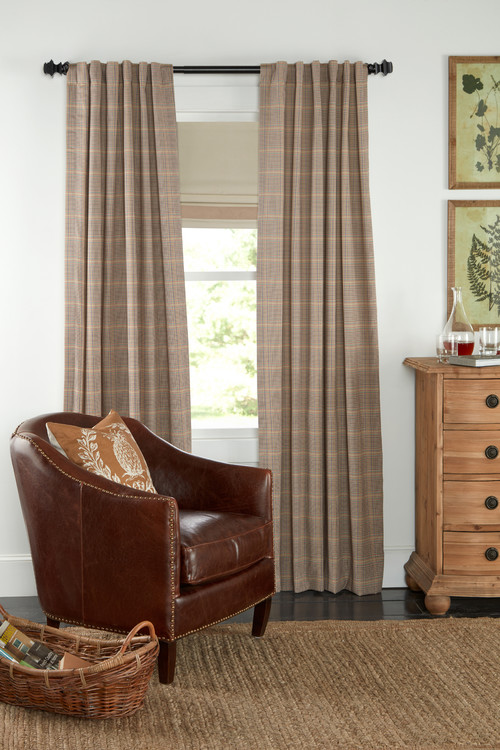 Bennett Check Rod Pocket Curtains with Back Tabs
