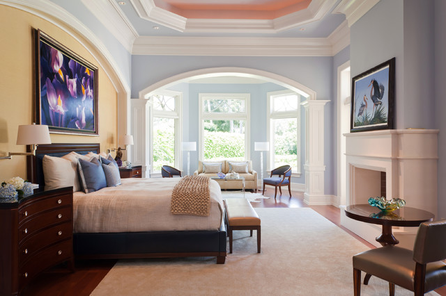 Huge Elegant Master Medium Tone Wood Floor And Brown Floor Bedroom Photo In  Miami With Blue