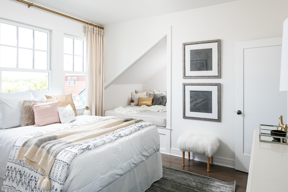 Mid-sized transitional guest dark wood floor bedroom photo in Louisville with white walls and no fireplace