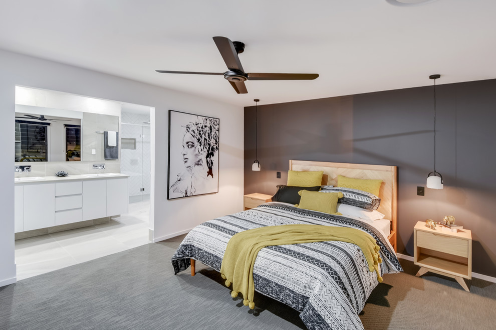Bedroom - large scandinavian master carpeted and gray floor bedroom idea in Sunshine Coast with white walls
