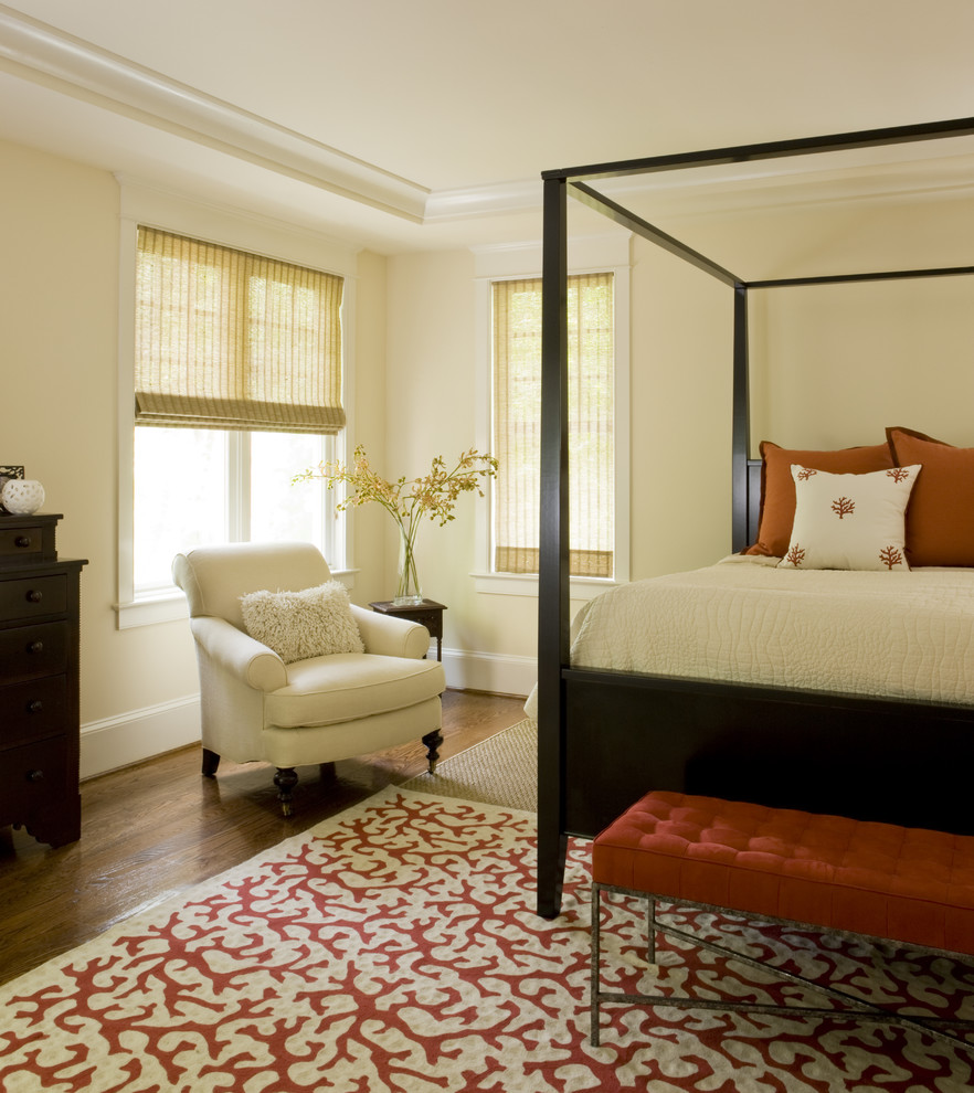 Inspiration for a contemporary bedroom remodel in DC Metro with beige walls