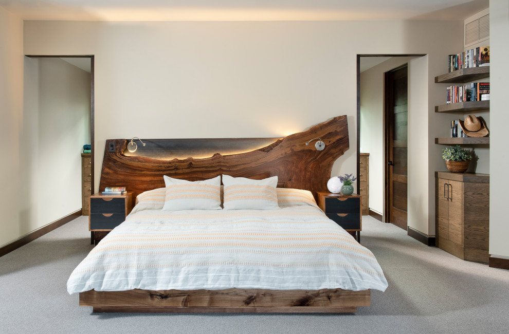 Example of a mountain style bedroom design in Other