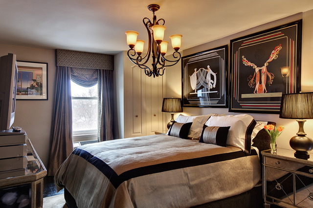 Eclectic bedroom photo in New York with gray walls