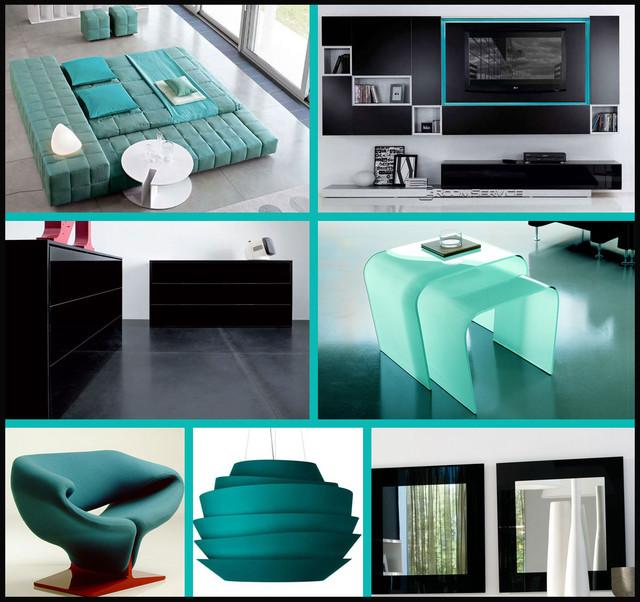 Black and Teal Bedroom Idea - Modern - Bedroom ...