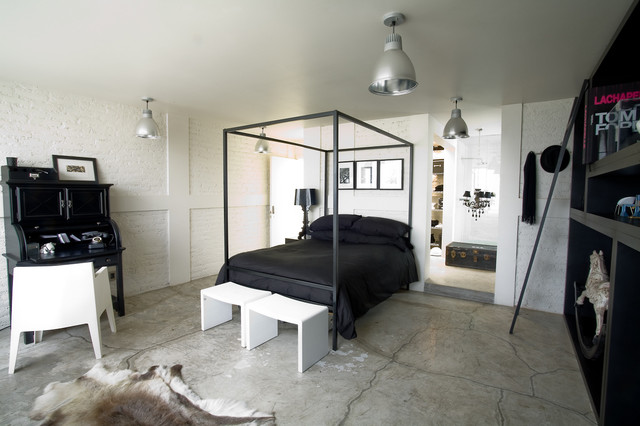Black & White Apartment industrial-bedroom