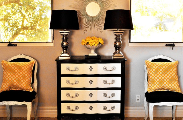 black and white bedroom wirh gray and gold accents traditional bedroom