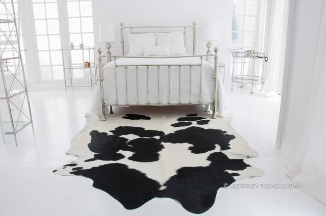 Black U0026 White Cowhide Rug By Jersey Road Contemporary Bedroom