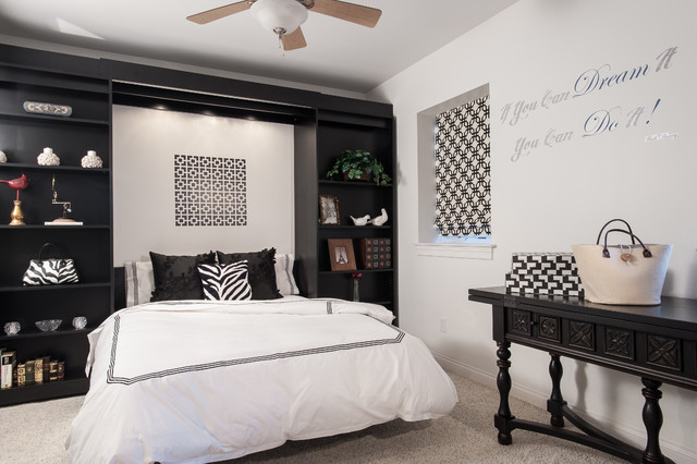 Black and White office/guest room - Contemporary - Bedroom ...