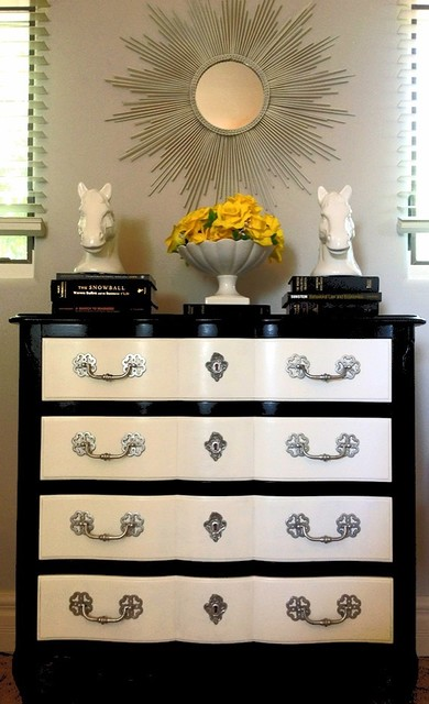 Black And White Painted Dresser With Silver Hardware - Contemporary ...