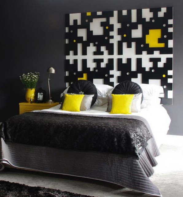 black and yellow bedroom modern bedroom other metro. Black Bedroom Furniture Sets. Home Design Ideas
