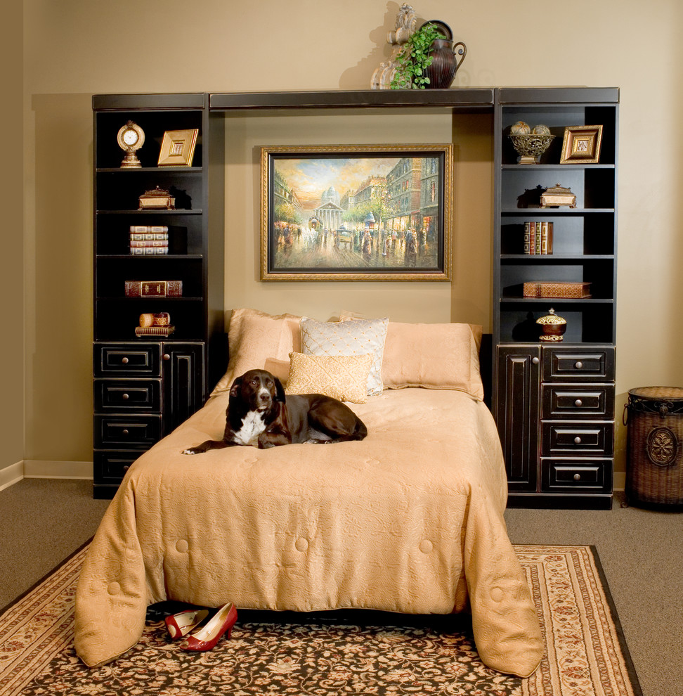 Black Distressed Panel Bed Contemporary Bedroom