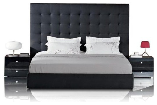 Contemporary Bedroom Set London Black By Acme Furniture: Black Leather Bed With Tall Tufted Headboard