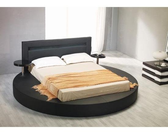 Black Leatherette Round Platform Bed - Features
