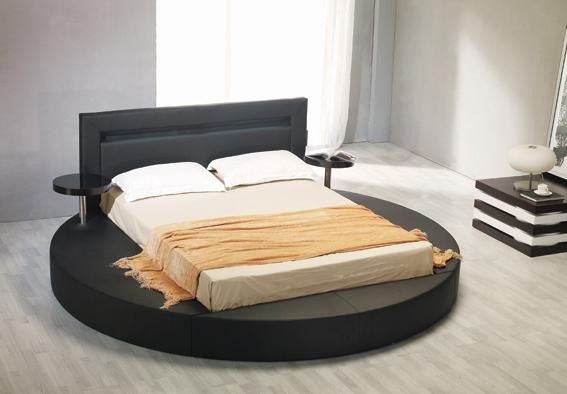 Great Black Leatherette Round Platform Bed Contemporary Bedroom