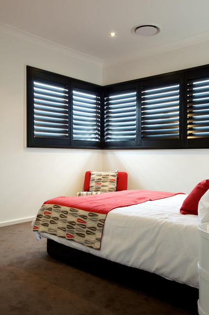 Black Plantation Shutters Modern Bedroom Adelaide by All