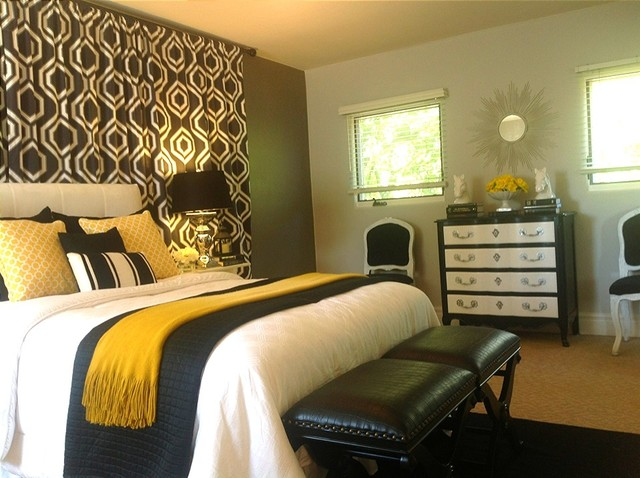 Black white grey grey and gold bedroom contemporary bedroom san diego by design find - Gold bedroom ideas ...