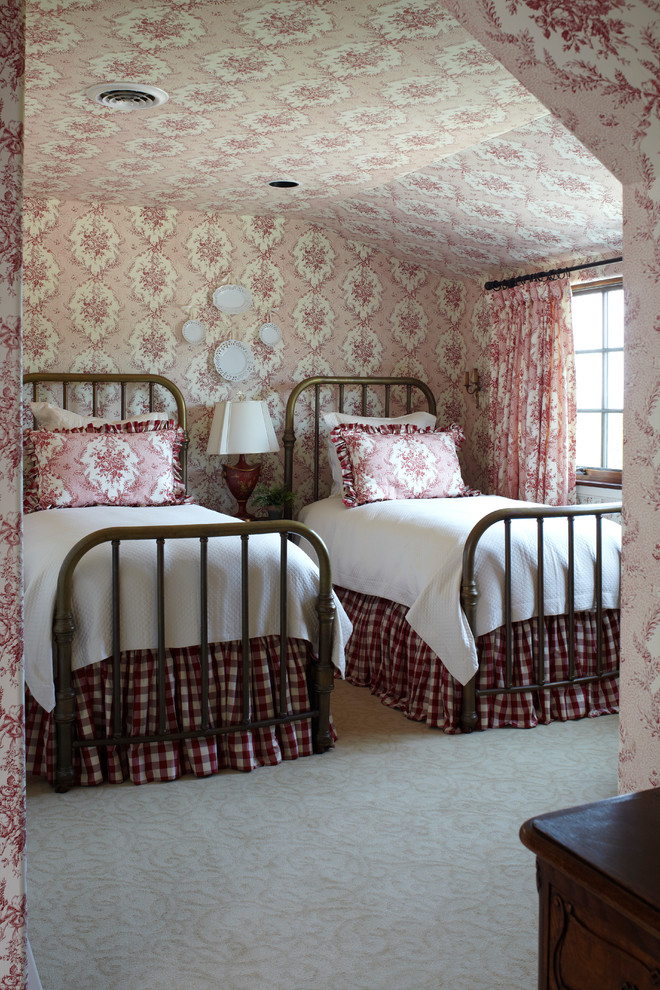 Inspiration for a farmhouse carpeted bedroom remodel in Other with multicolored walls