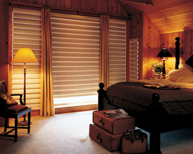 Blackout Shades For Master Bedroom Hunter Douglas Pirouette Rustic