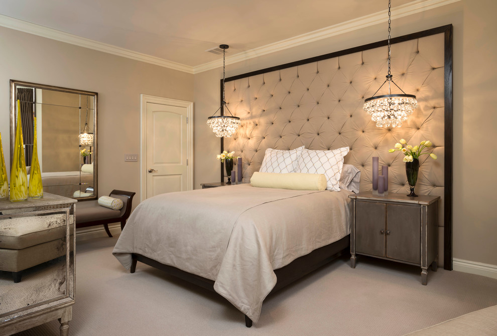 Large trendy guest carpeted bedroom photo in Detroit with beige walls