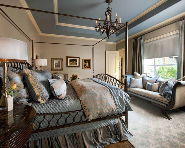 blue and beige bedroom