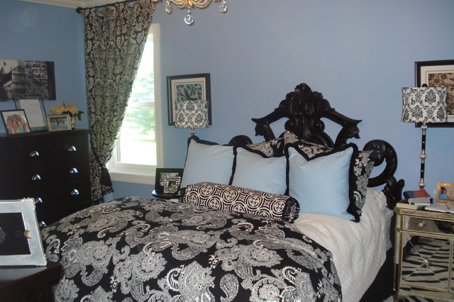 light blue and black bedroom